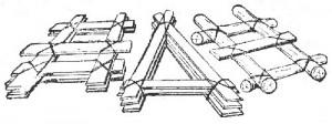 Рис. 6. Плотики из жердей и досок