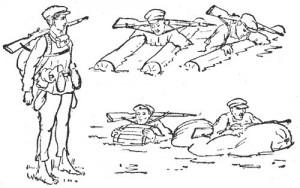 Рис. 5. Подручные средства, облегчающие переправу через реку